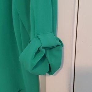 Brixon Ivy Tops - Green Split neck blouse
